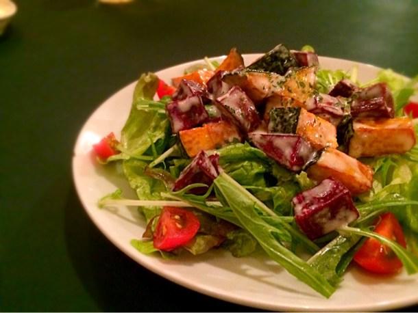 紅いもとカボチャのサラダ