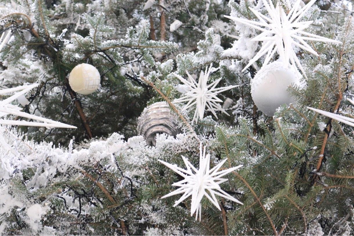 本物の雪のようなクリスマスツリー