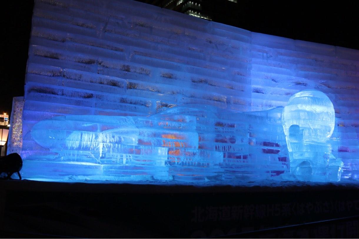氷の彫刻 新幹線
