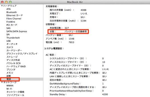 MacBook Air 電源状態