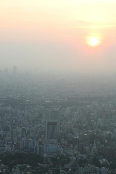 日が沈みかけた大都会