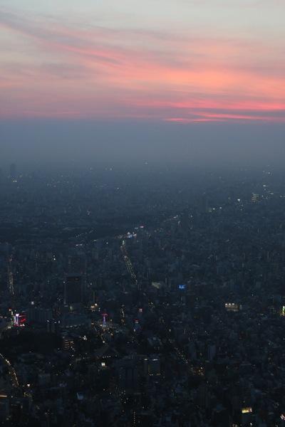 大都会を包み込む夕空