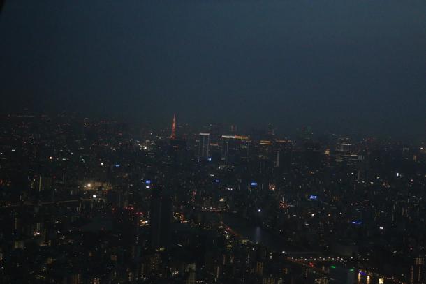 スカイツリーから見る東京タワー