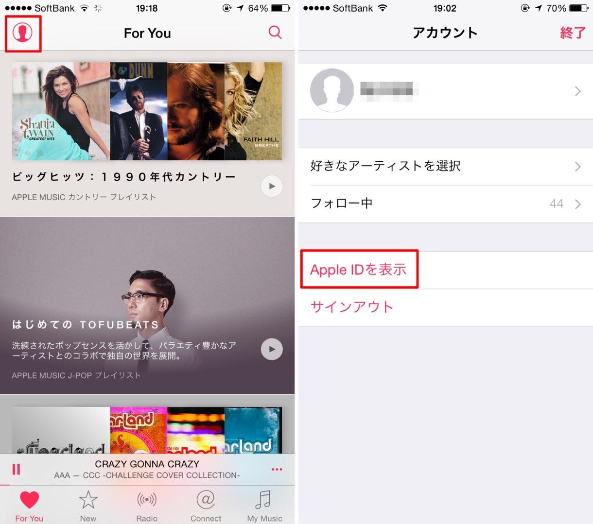 Apple Music 自動更新の無効設定