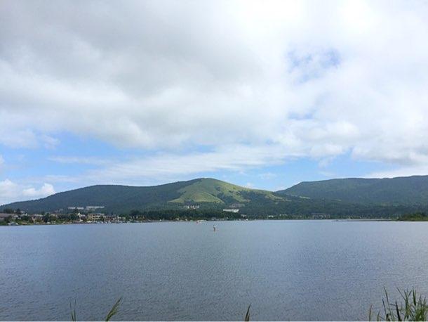 山中湖でサイクリング!1周1時間700円!