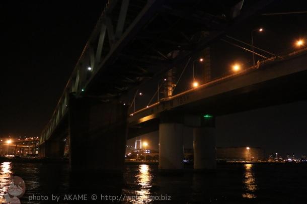 橋の真下を通るクルージング