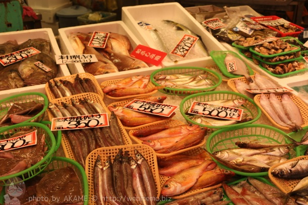近江町市場 通りに並ぶ魚