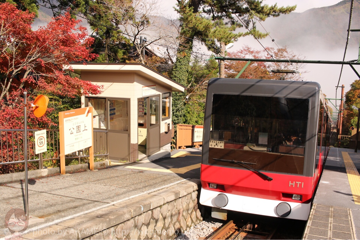 公園駅とケーブルカーと紅葉
