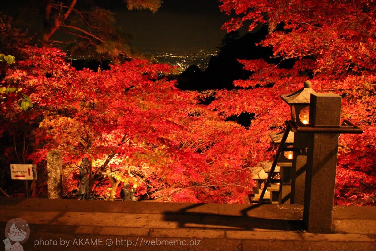 大山寺から見た夜景と紅葉