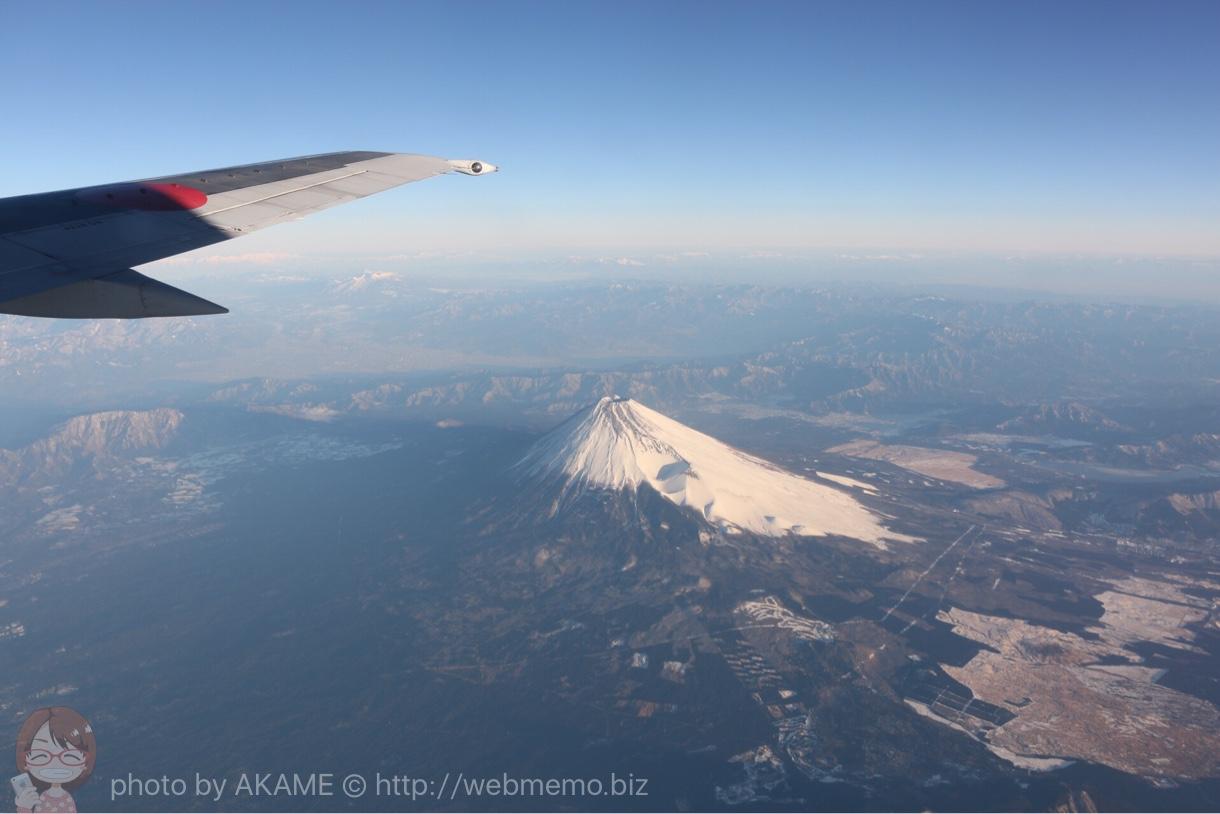 飛行機の羽と富士山