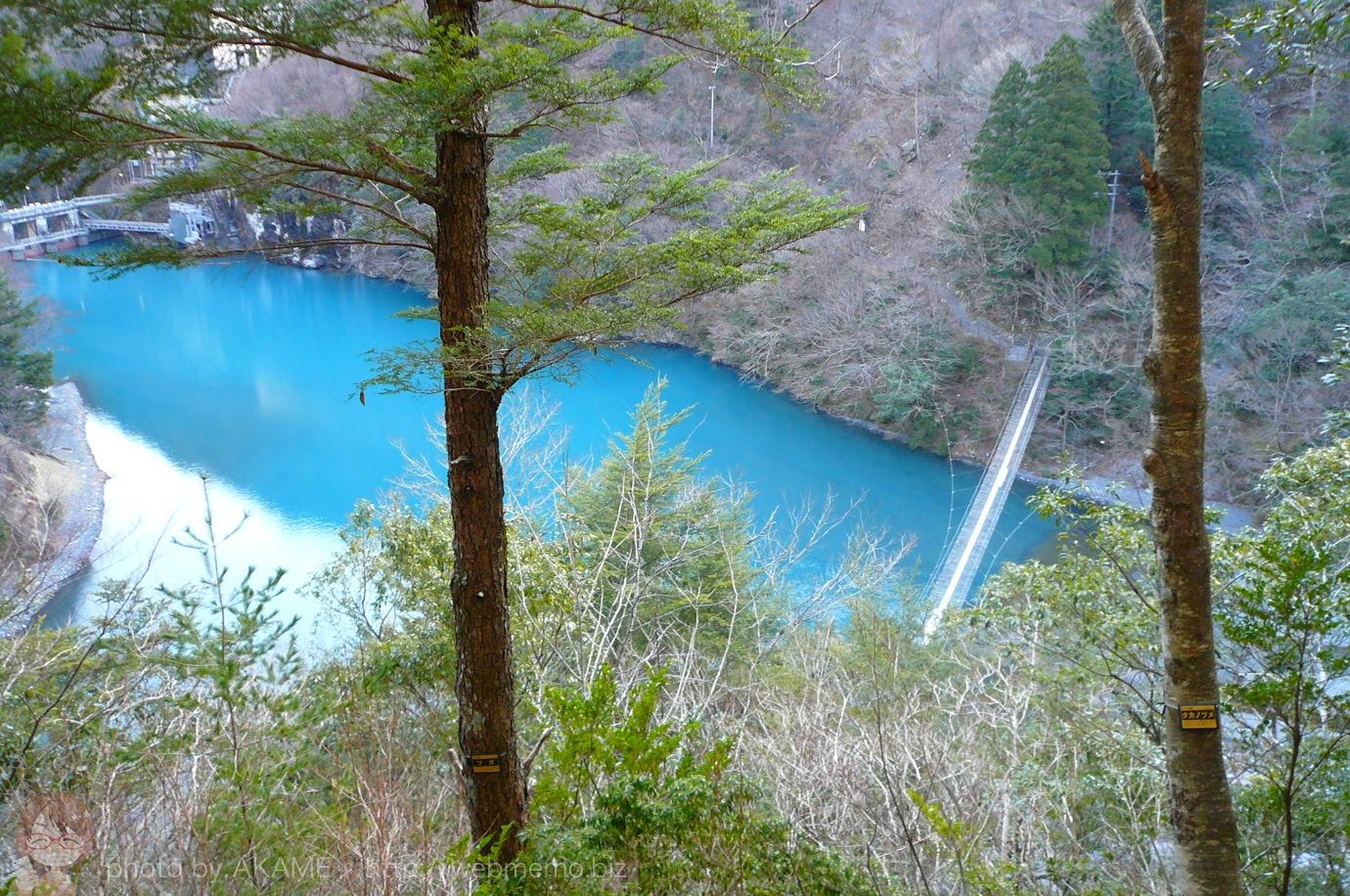 山道から見た夢の吊り橋