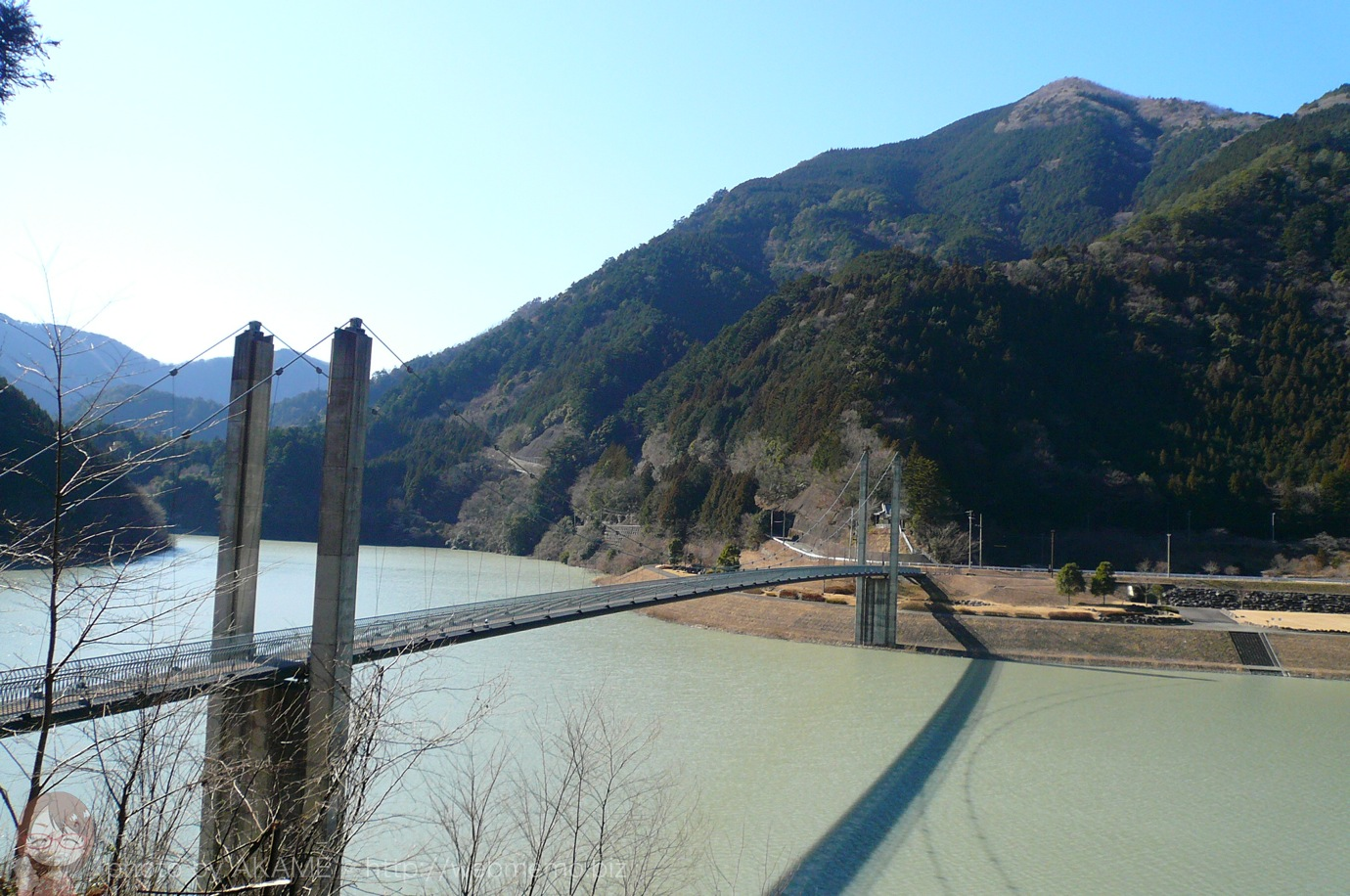 栃の木橋から見える南アルプス接岨大吊橋
