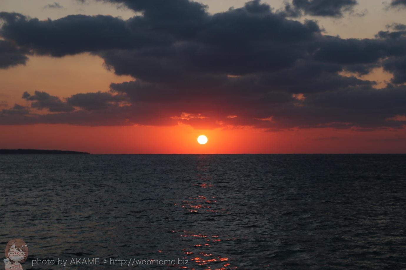 西平安名崎からの夕陽