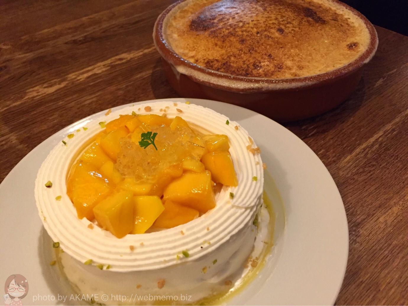 マンゴーのショートケーキといちごのクリームブリュレ