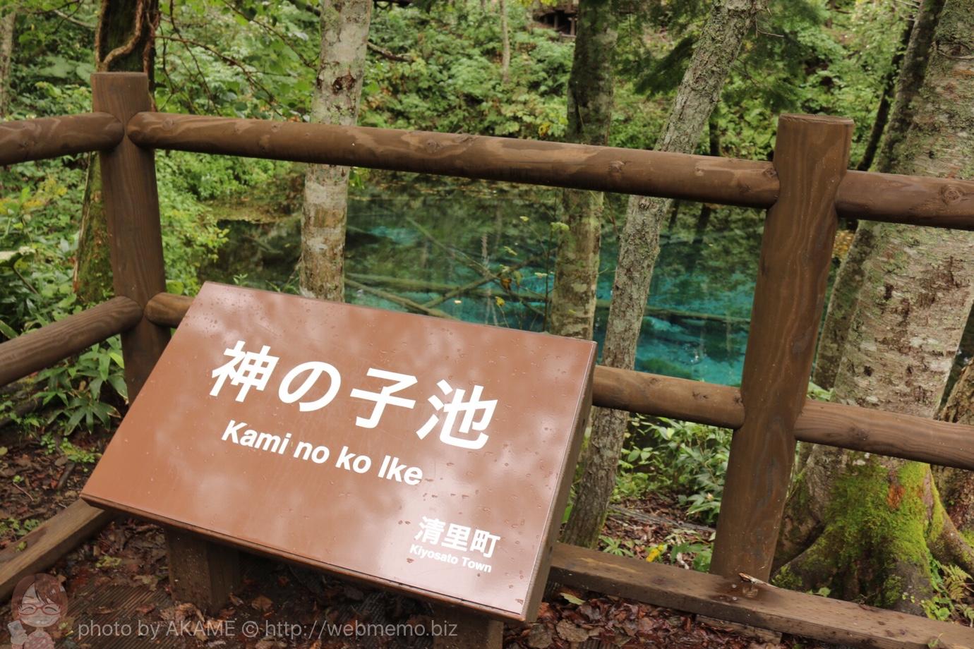 神の子池の看板