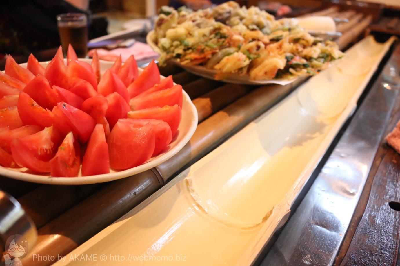冷やしトマトや各種天ぷら