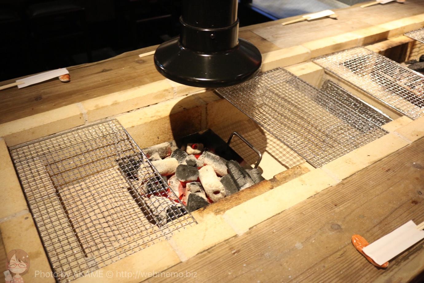 銭函バーベキュー 炭焼きのテーブル