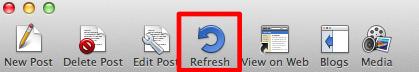 「MarsEdit」のメニューバーにある「Refresh」を選択
