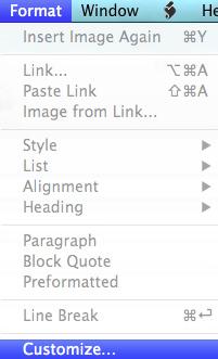 MarsEditのメニューバー「Format」から「Customize…」を選択