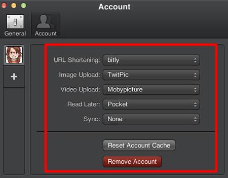 「Account」で各アカウントの設定